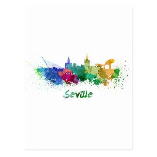 Seville skyline in watercolor postcard