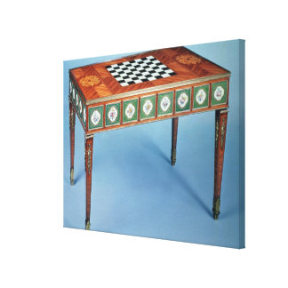 Sevres games table with porcelain plaques canvas print