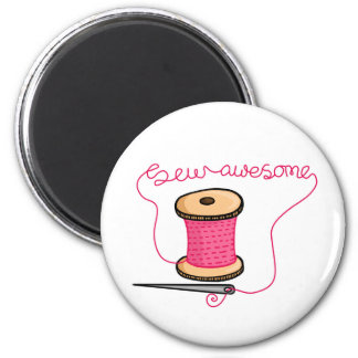 Sew awesome needle and cotton 6 cm round magnet