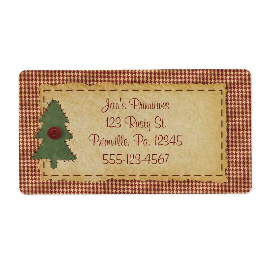 Sew Christmas Tree Holiday Business Label