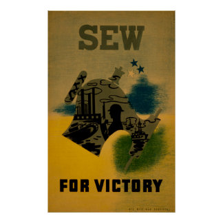Sew For Victory WPA Vintage Poster