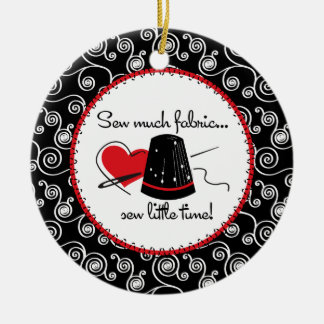 Sew Much Fabric Round Ceramic Decoration