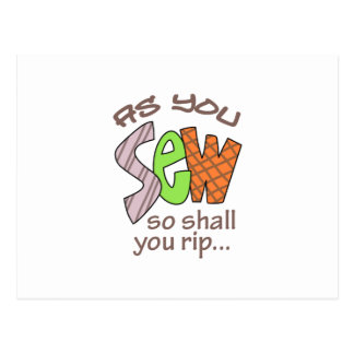 SEW SHALL YOU RIP POST CARD