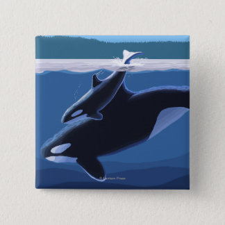 Seward, AlaskaOrca and Calf Scene 15 Cm Square Badge