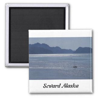 Seward Inlet Alaska Square Magnet