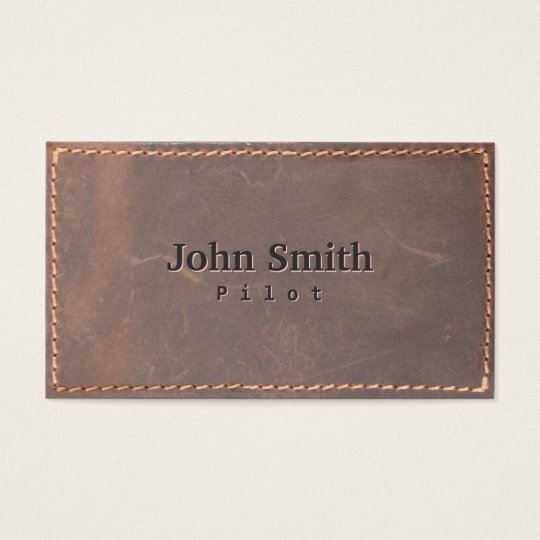 Sewed Leather Pilot/Aviator Business Card