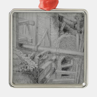 Sewer construction in Bloomsbury, London, 1845 Silver-Colored Square Decoration