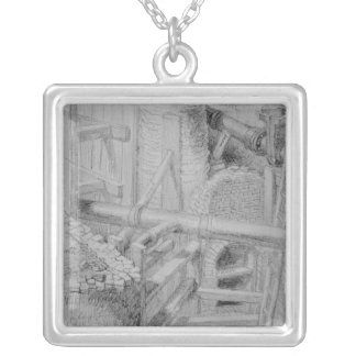 Sewer construction in Bloomsbury, London, 1845 Silver Plated Necklace