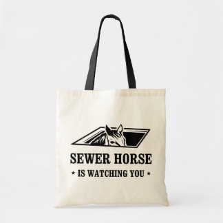 Sewer Horse is watching you Tote Bags