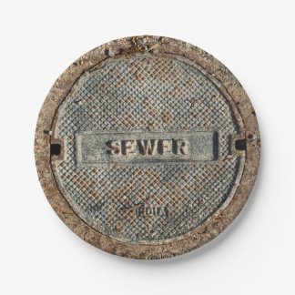 Sewer Man Hole Cover 7 Inch Paper Plate