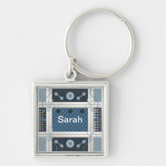 Sewing Addict Silver-Colored Square Key Ring