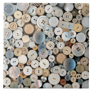 Sewing - Buttons - Lots of white buttons Large Square Tile