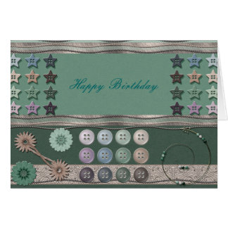 Sewing Enthusiast Green Greeting Cards