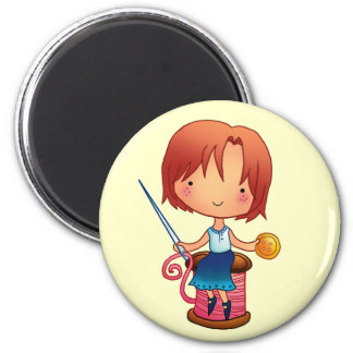 Sewing girl magnet