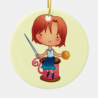 Sewing Girl Ornament