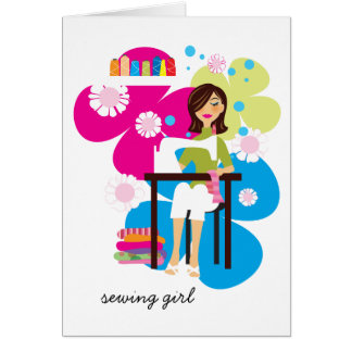 Sewing Girl Personalized Notecards Card
