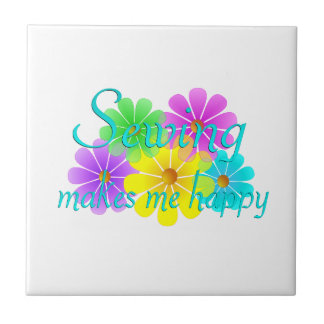 Sewing Happiness Flowers Ceramic Tile
