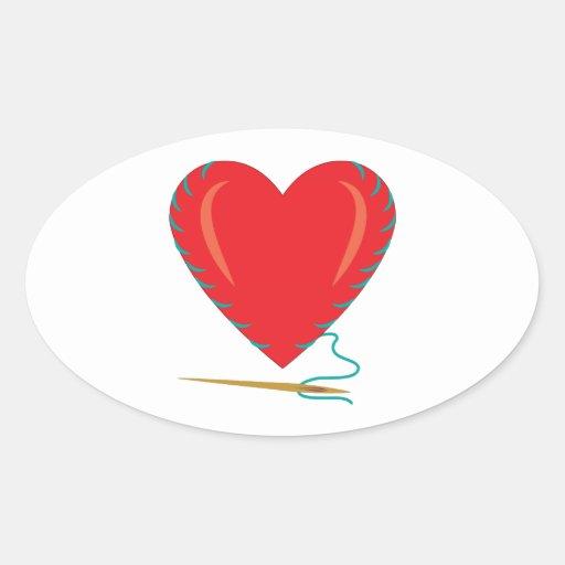 Sewing Heart Oval Sticker