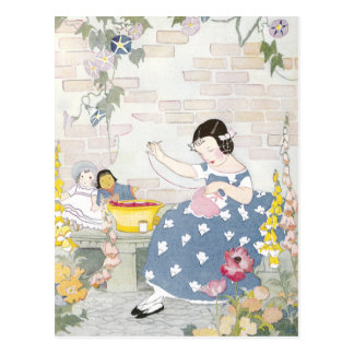 Sewing in a Garden of Foxglove & Poppies Postcard