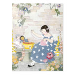 Sewing in a Garden of Foxglove & Poppies Postcards