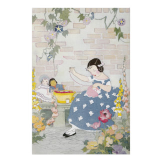 Sewing in a Garden of Foxglove & Poppies Poster