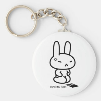Sewing involving the rabbit/you get angry basic round button key ring