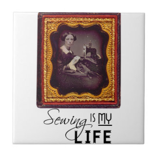 Sewing Is My Life Small Square Tile