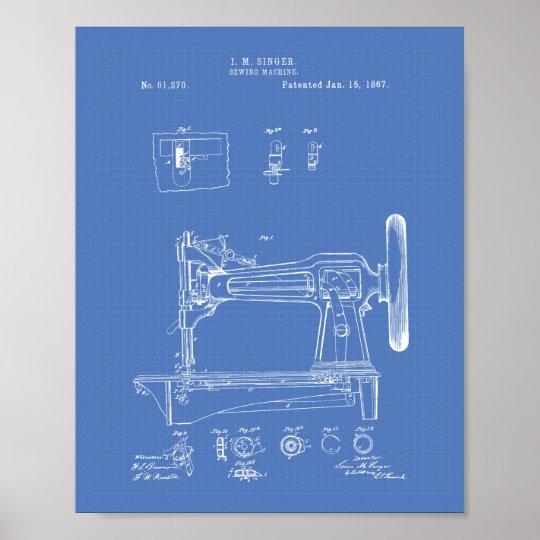 Sewing Machine 1867 Patent Art Blueprint Poster