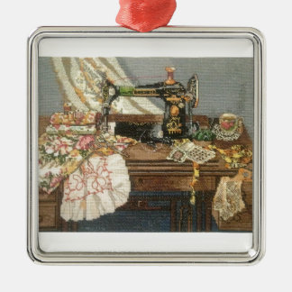 Sewing Machine and Dress Christmas Ornament