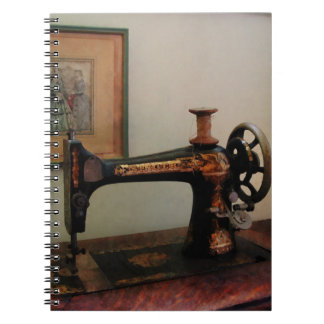 Sewing Machine and Lithograph Spiral Notebook