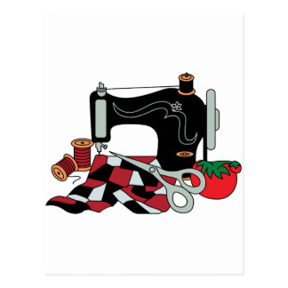 Sewing Machine and Quilt Postcard