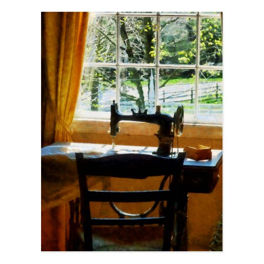 Sewing Machine By Window Postcard