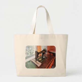 Sewing Machine Near Lace Curtain Jumbo Tote Bag