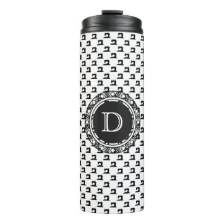 Sewing Machine Pattern w/ Monogram • Crafts Thermal Tumbler