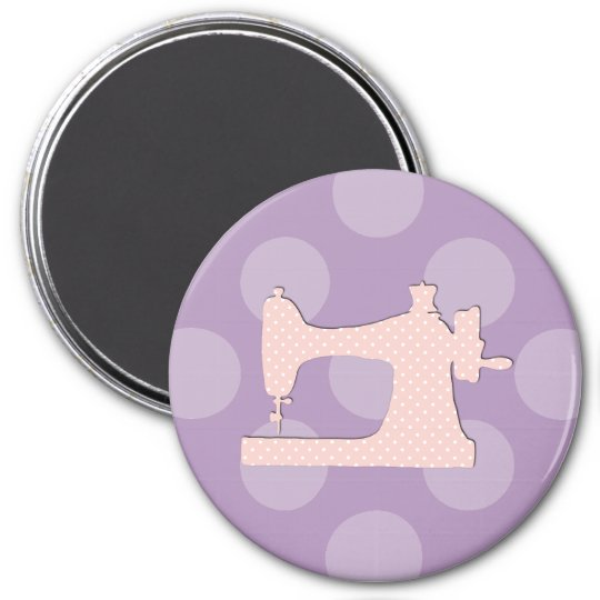 Sewing Machine, Polka Dots - Pink White 7.5 Cm Round Magnet
