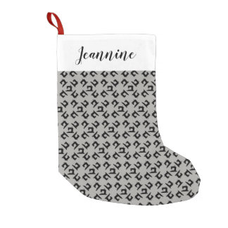 Sewing Machine Print + Your Name Small Christmas Stocking