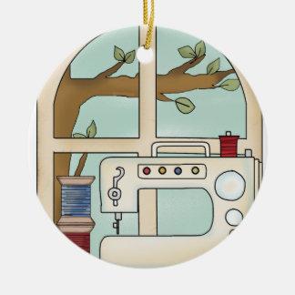 sewing machine round ceramic decoration