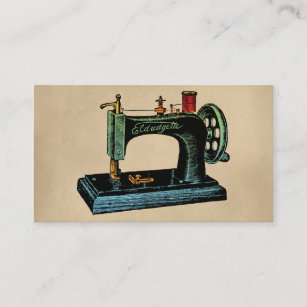 Sewing business cards business card printing zazzle uk sewing machine vintage illustration business card reheart Image collections
