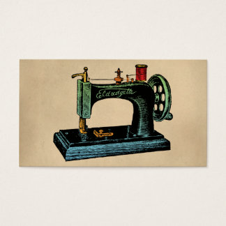 Sewing Machine Vintage Illustration Business Card