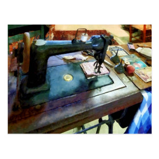 Sewing Machine With Sissors Postcards