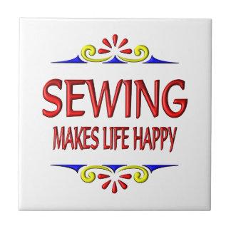 Sewing Makes Life Happy Ceramic Tiles