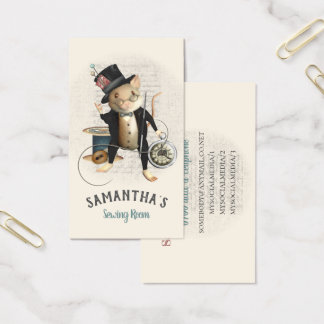 Sewing Mouse Victorian Inspired Illustration Business Card