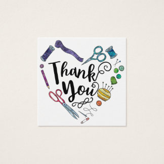 Sewing Notions Heart Thank You Square Business Card