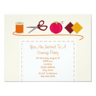 Sewing Party Thread, Scissors, Pin Cushion, Swatch 11 Cm X 14 Cm Invitation Card