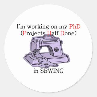 Sewing PhD Round Sticker