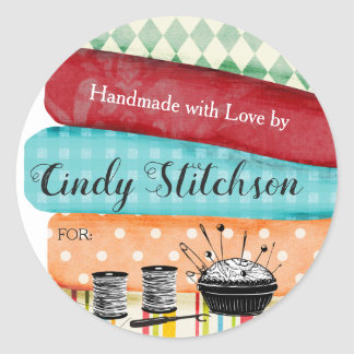 Sewing quilting fabrics handmade with love sticker
