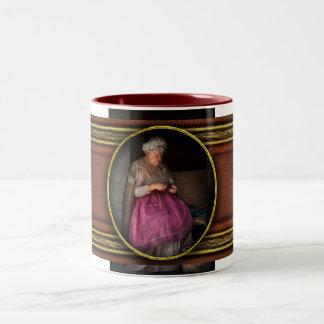 Sewing - Ribbon - Granny's hobby Two-Tone Coffee Mug