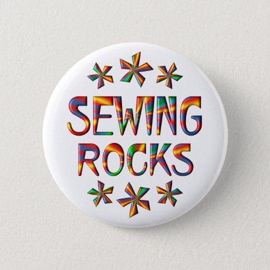 Sewing Rocks 6 Cm Round Badge