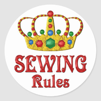 SEWING RULES ROUND STICKER