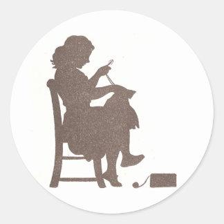 Sewing Silhouette Round Sticker